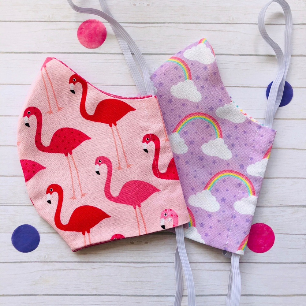 Flamingo and Rainbow Set of Two Face Masks