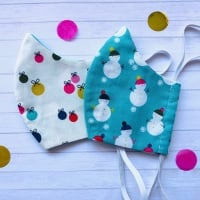 Snowman and Bauble Set of Two Face Masks