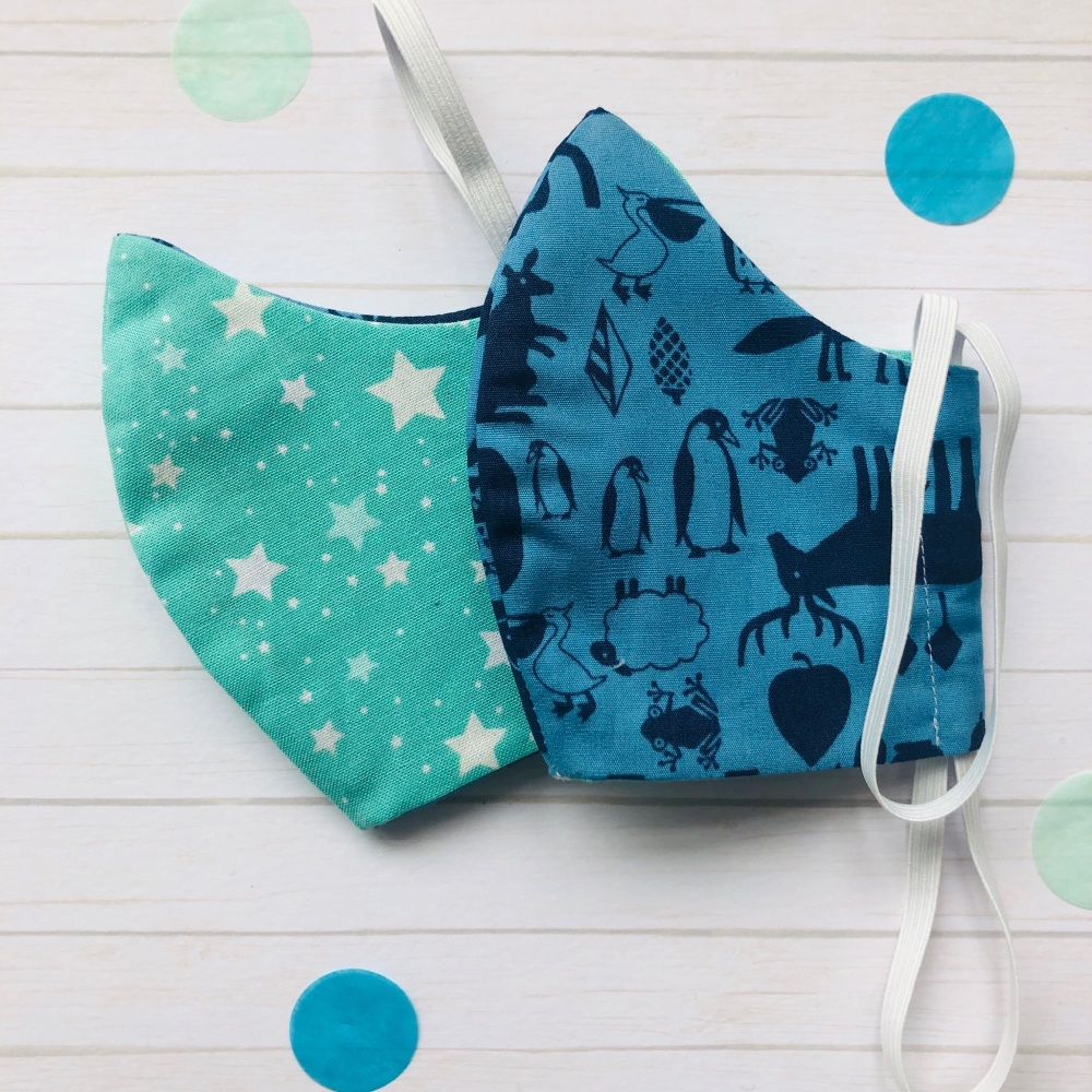 Star and Blue Animal Set of Two Face Masks