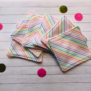 Set of 6 Handmade Rainbow Washable Make Up Pads