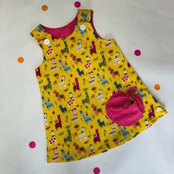 Yellow Llama Bubble Pocket Dress