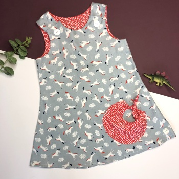 Grey Unicorn Bubble Pocket Dress