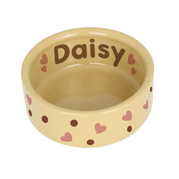 Personalised Pet Bowl - Dotty Medium Brown Dog / Puppy Bowl
