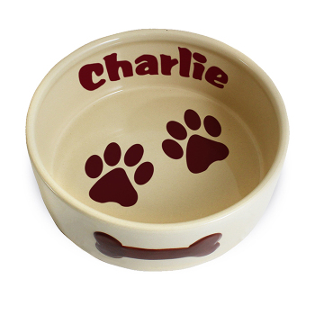 Personalised Pet Bowl - Paws Large Brown Dog / Puppy Bowl