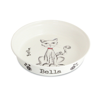 Personalised Pet Bowl - Scribble Small Cat / Kitten Bowl