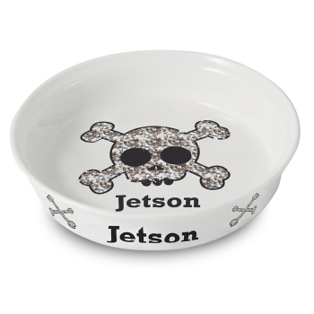 Personalised Pet Bowl - Skull Bling Pet Bowl - Fine Bone China