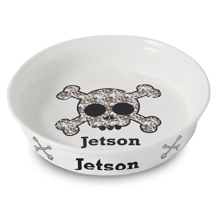 Skull Bling Pet Bowl - Fine Bone China