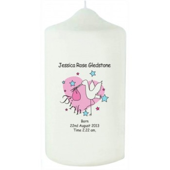 Personalised Pink Stork Birth Candle