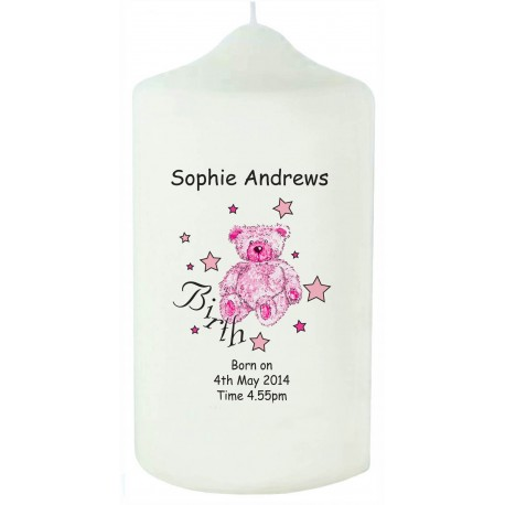 Teddy & Stars Pink Birth Candle