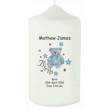 Teddy & Stars Blue Birth Candle