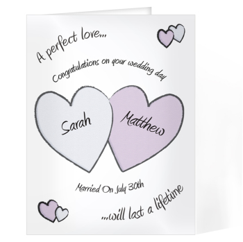 Personalised Wedding Day Card - Perfect Love Wedding Card