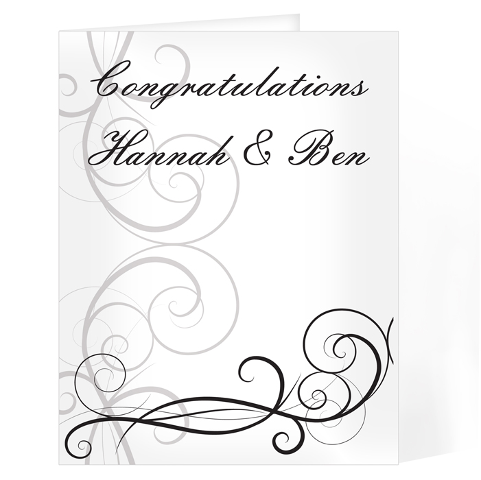 Personalised Wedding Day Card - Black Swirl Wedding Card