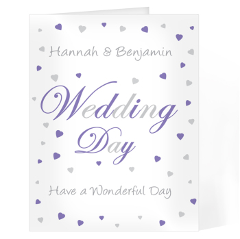 Personalised Wedding Day Card - Wedding Day Hearts Card