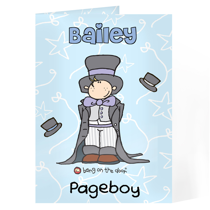 Personalised Pageboy Card / Usher Card - Bang On The Door Wedding Boy Card