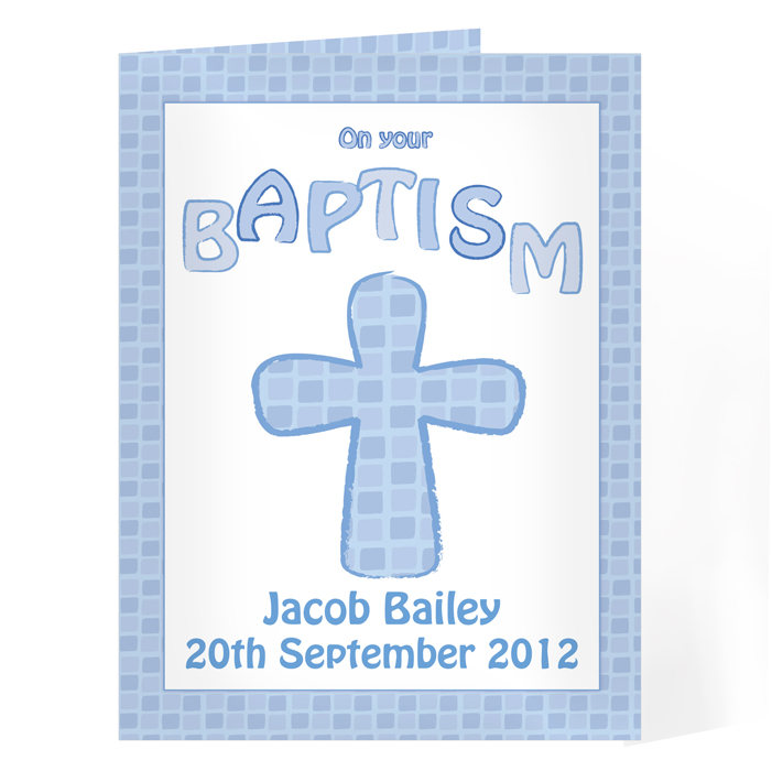 Personalised Baptism Card - Baptism Card Blue