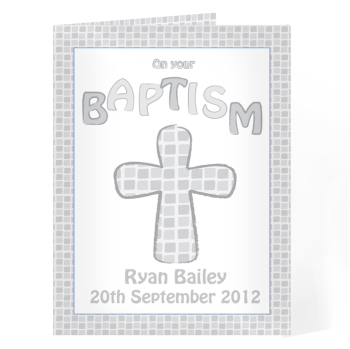 Personalised Baptism Card - Baptism Card Grey