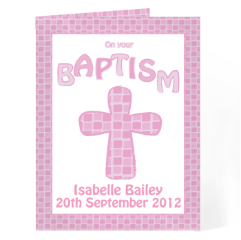 Personalised Baptism Card - Baptism Card Pink