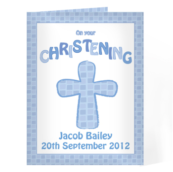 Personalised Christening Card - Christening Blue Card