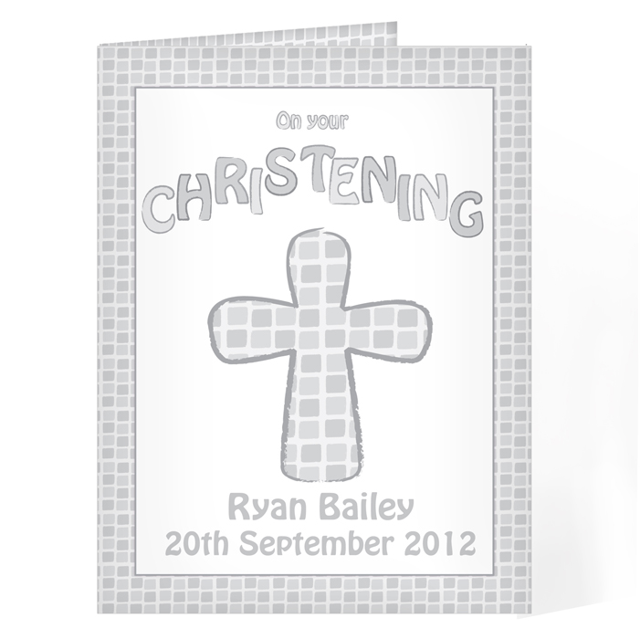 Personalised Christening Card - Baptism Christening Grey