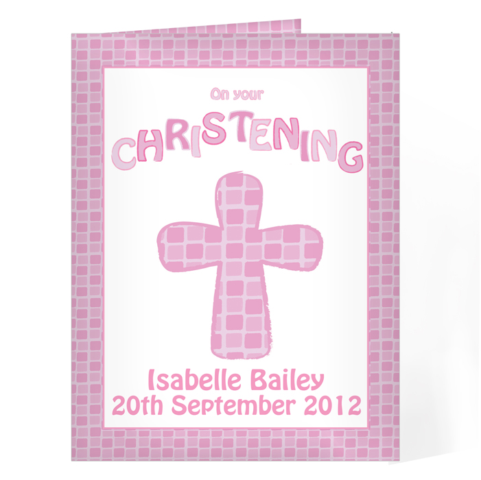 Personalised Christening Card - Baptism Christening Pink