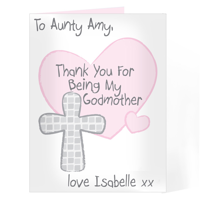 Personalised Godmother Card - Thank You for being my Godmother Card