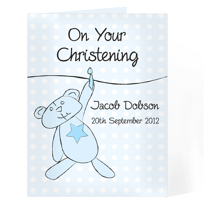 Personalised Christening / Baptism / Naming Day Card - Blue Teddy Washing L