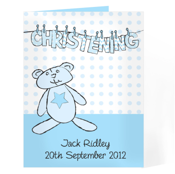 Personalised Christening / Baptism / Naming Day Card - Boy Christening Wash Line Card