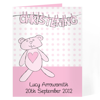 Personalised Christening / Baptism / Naming Day Card - Girl Christening Wash Line Card