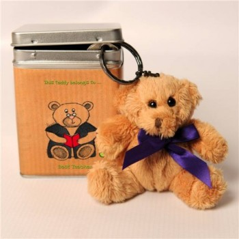 Personalised Thank You Teacher Gift - Personalised Best Teacher Keyring Teddy in a Tin