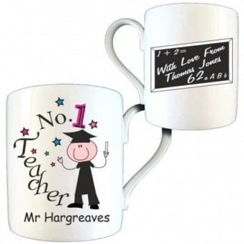 Personalised Thank You Teacher Gift - No1 Teacher Male Bone China Mug