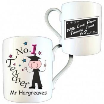 Personalised Thank You Teacher Gift - No1 Teacher Male Bone China Mug