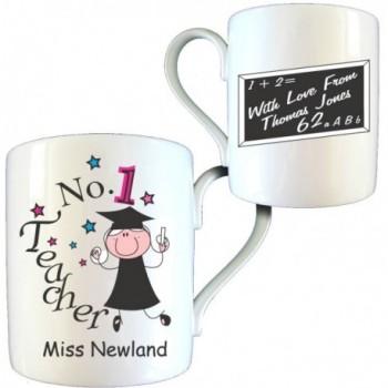 Personalised Thank You Teacher Gift - No1 Teacher Female Bone China Mug