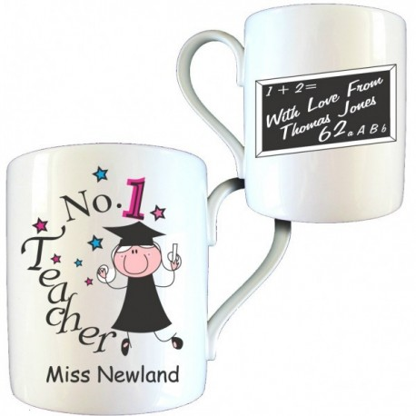 Personalised Thank You Teacher Gift - No1 Teacher Female Bone China Mug