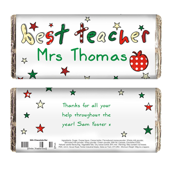 Personalised Thank You Teacher Gift - Teachers Chocolate Bar
