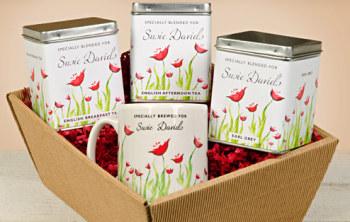 Personalised Tea Gift Set - Poppy Design