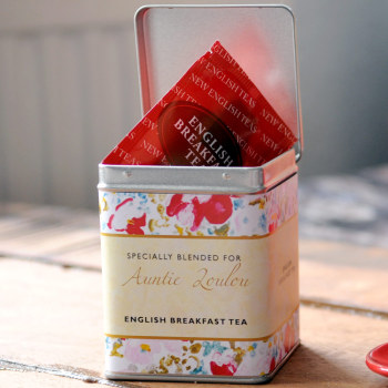 Personalised Small Tea Tin / Caddy - Floral Design
