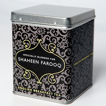 Personalised Small Tea Tin / Caddy - Traditional Design