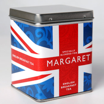 Personalised Small Tea Tin / Caddy - Union Jack Design