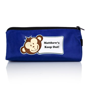 Personalised Back to School Pencil Case - Blue Monkey
