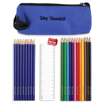 Personalised Back to School Pencil case, Personalised Pencils, Ruler & Sharpner - Blue