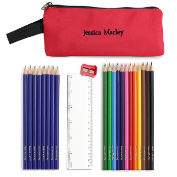 Personalised Back to School Pencil case, Personalised Pencils, Ruler & Sharpner - Red