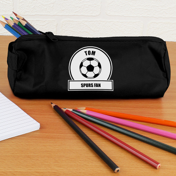 Personalised Back to School Pencil Case - Black & White Football Fan