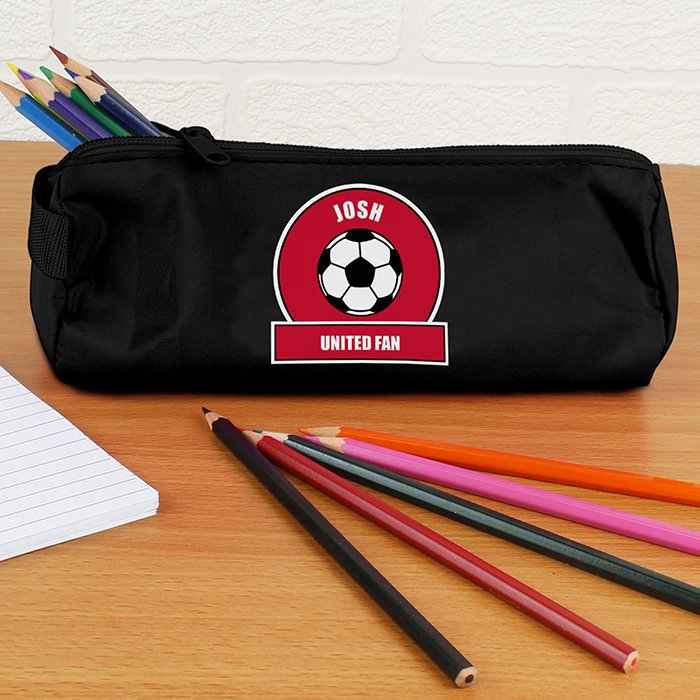 Personalised Back to School Pencil Case - Red & White Football Fan