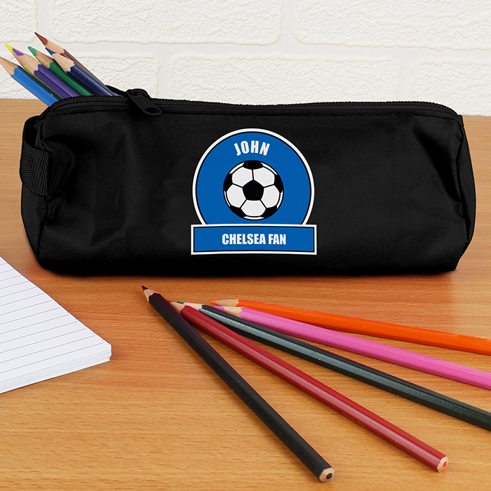 Personalised Back to School Pencil Case - Blue & White Football Fan