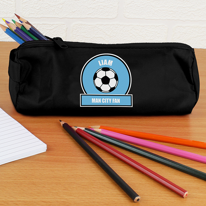 Personalised Back to School Pencil Case - Sky Blue & White Football Fan