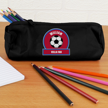 Personalised Back to School Pencil Case - Claret & Blue Football Fan