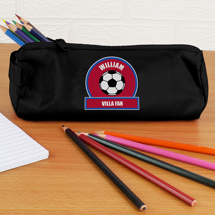 Personalised Back to School Pencil Case - Claret & Blue Football Fan