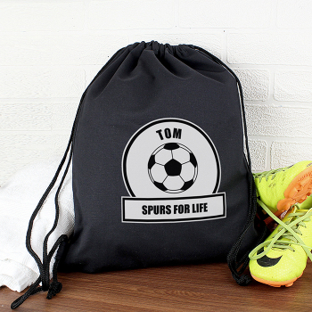 Personalised PE Kit Bag - Black & White Football Theme