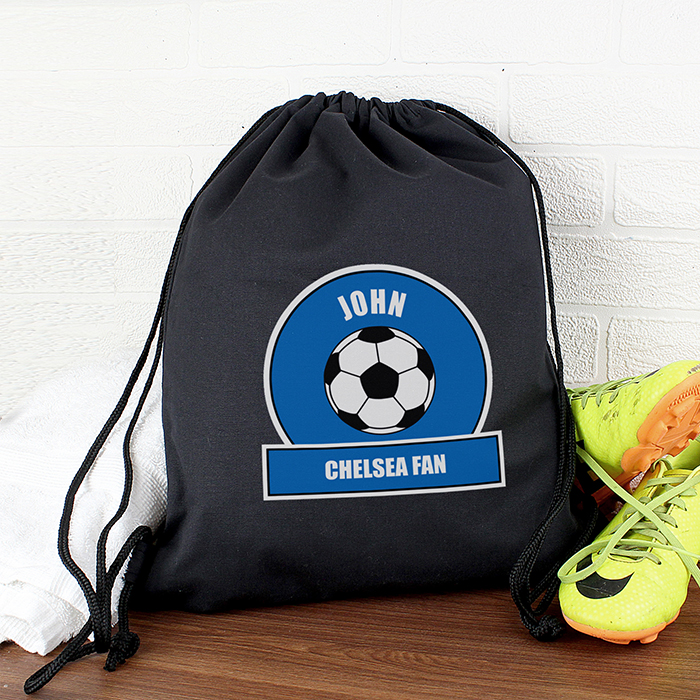 Personalised PE Kit Bag - Blue & White Football Theme