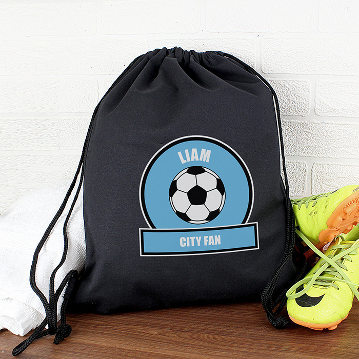 Personalised PE Kit Bag - Sky Blue & White Football Theme